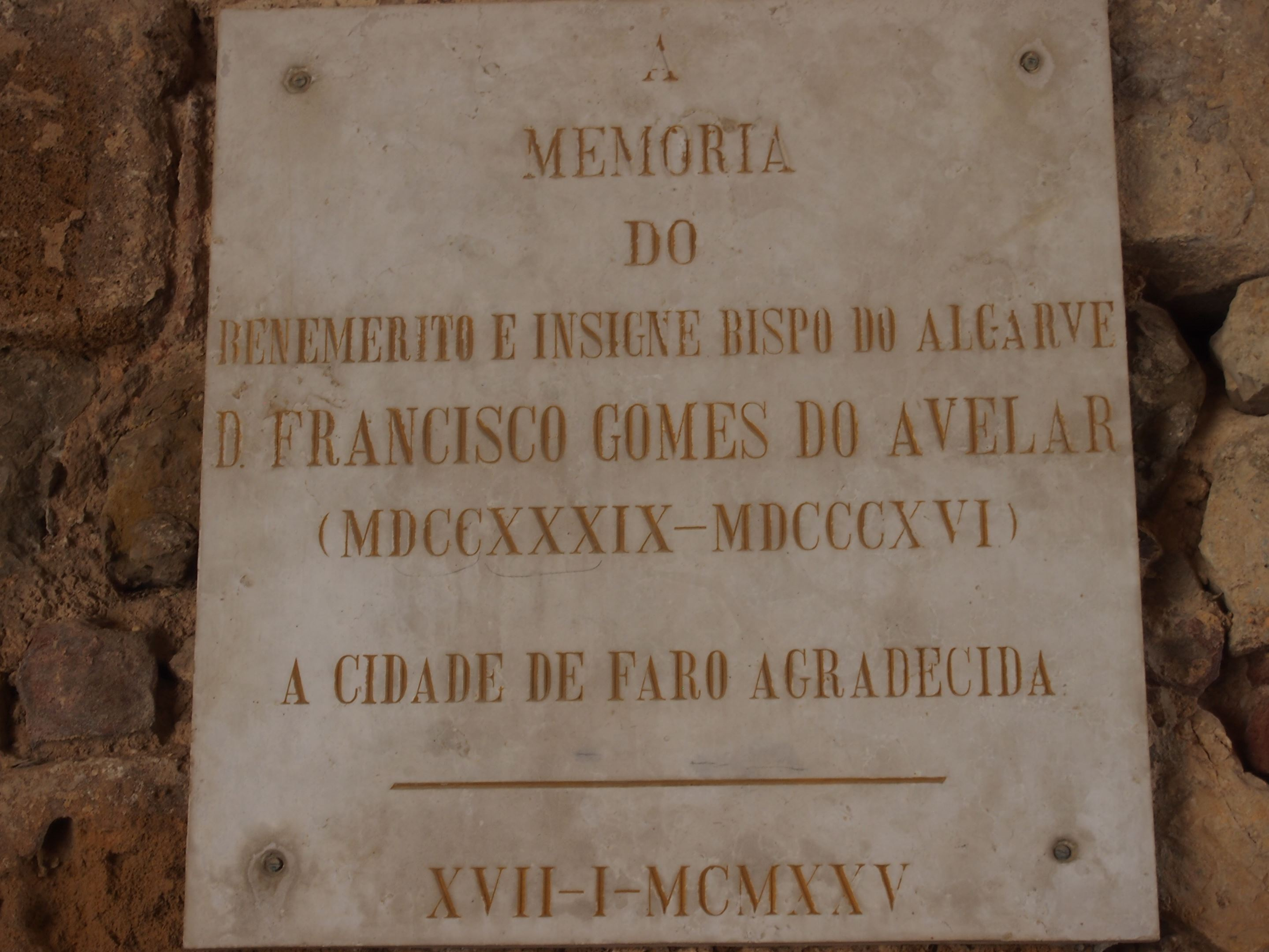 In memory of the Bishop of Algarve, D Francisco Gomes do Avelar 1739-1816