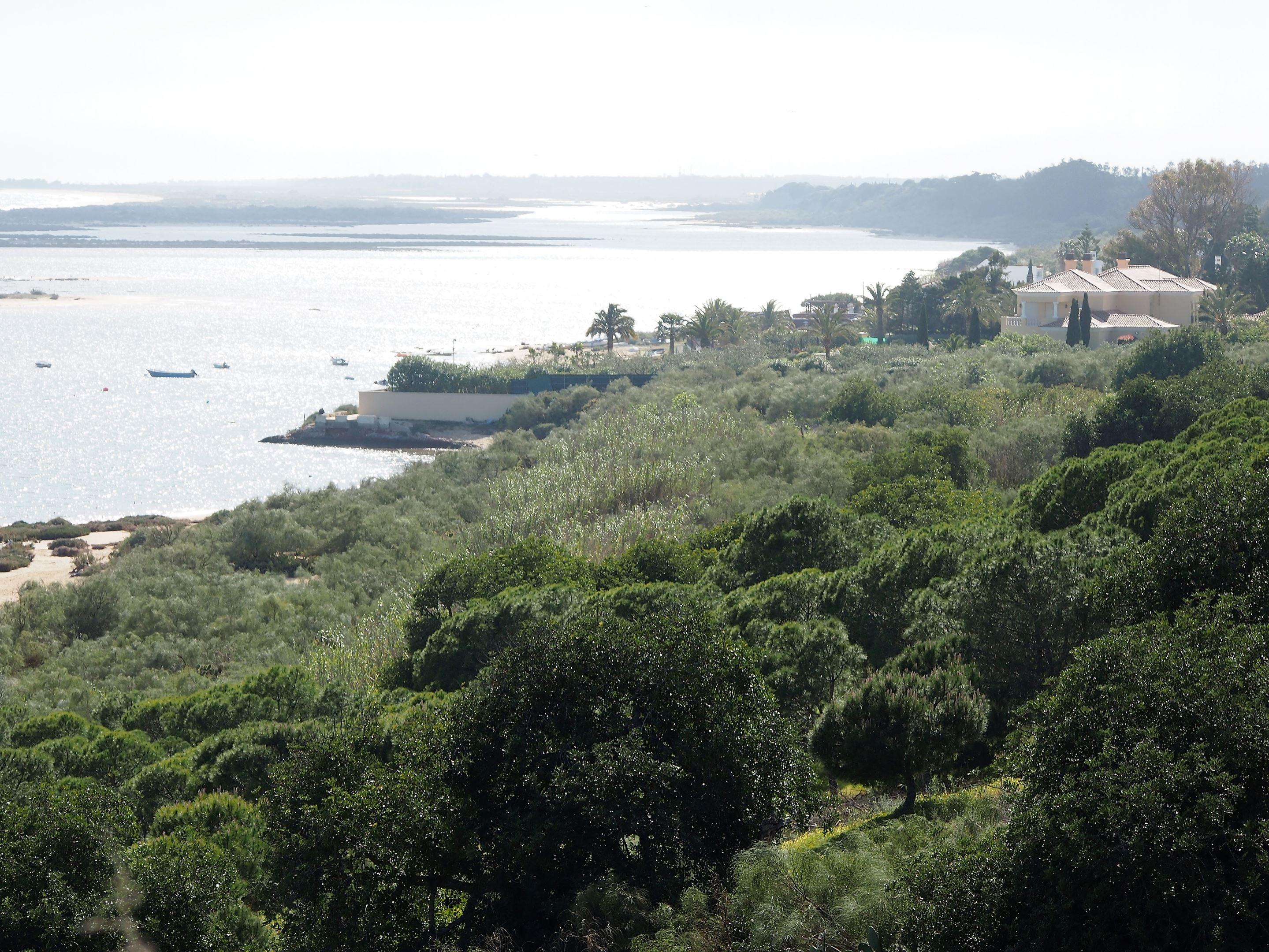 Mirando al oeste hacia Tavira desde Cacela Velha, Algarve