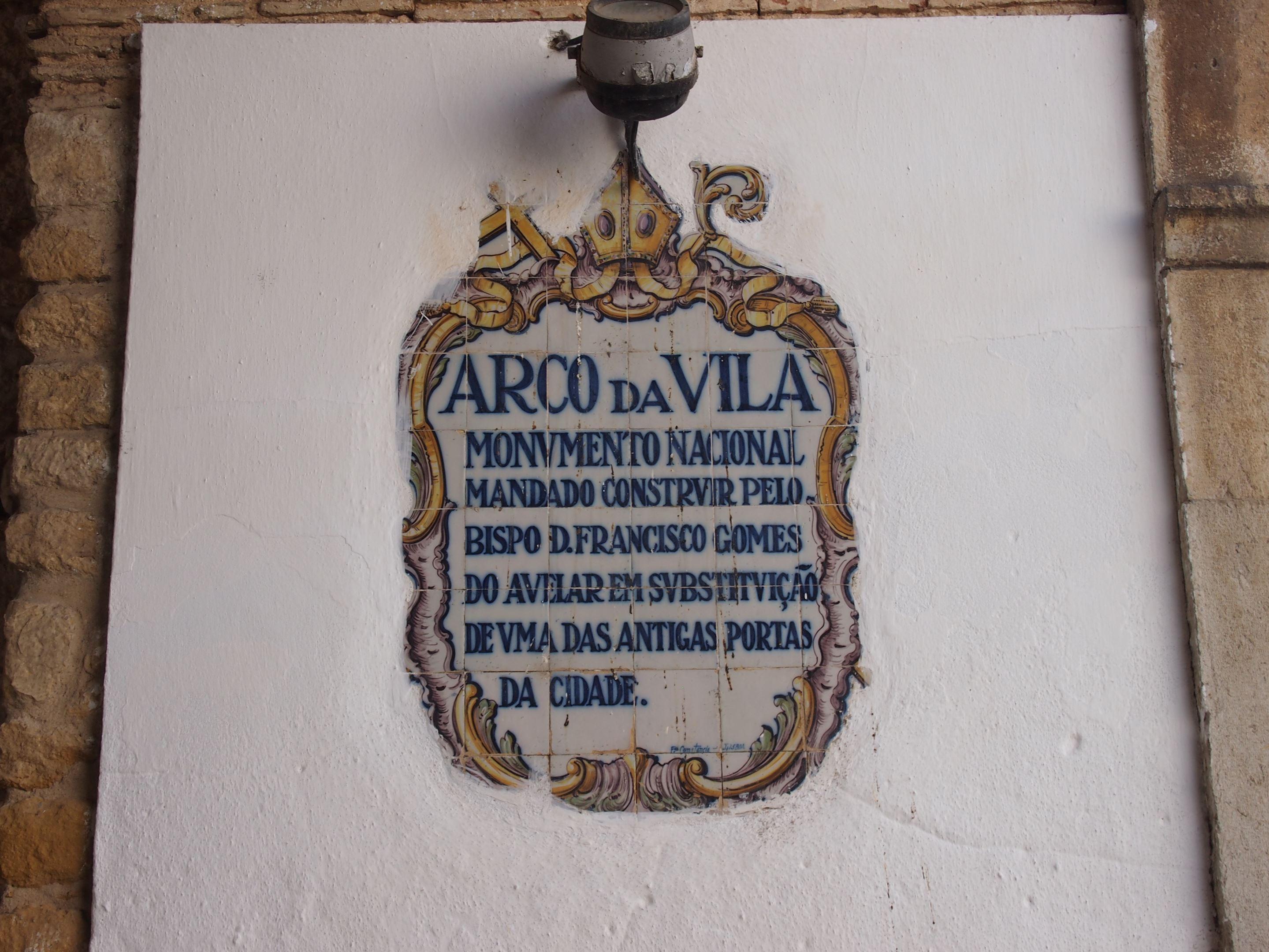 Arco da Vila plaque, Faro