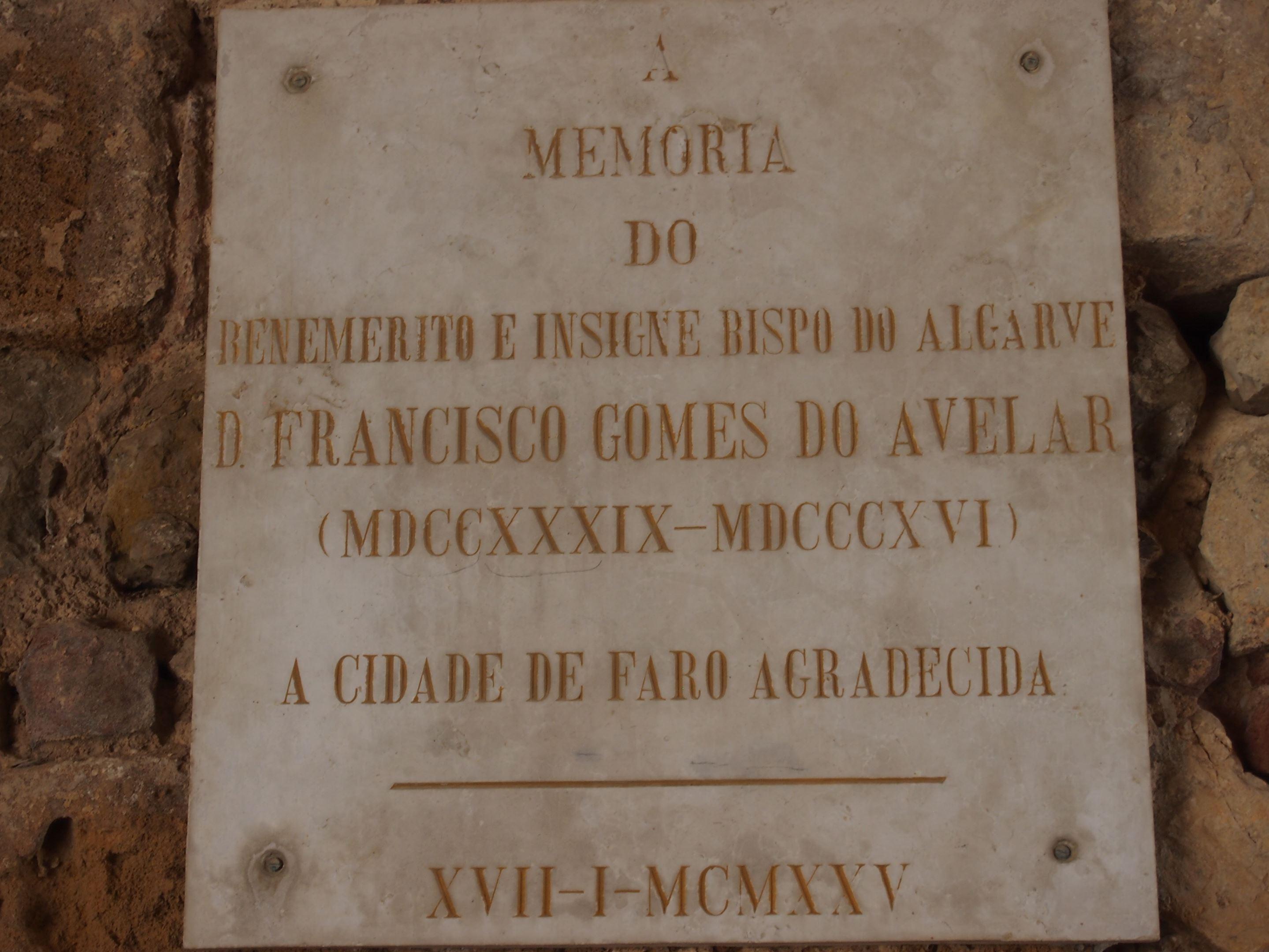 In memory of the Bishop of Algarve, D Francisco Gomes do Avelar 1739-1816