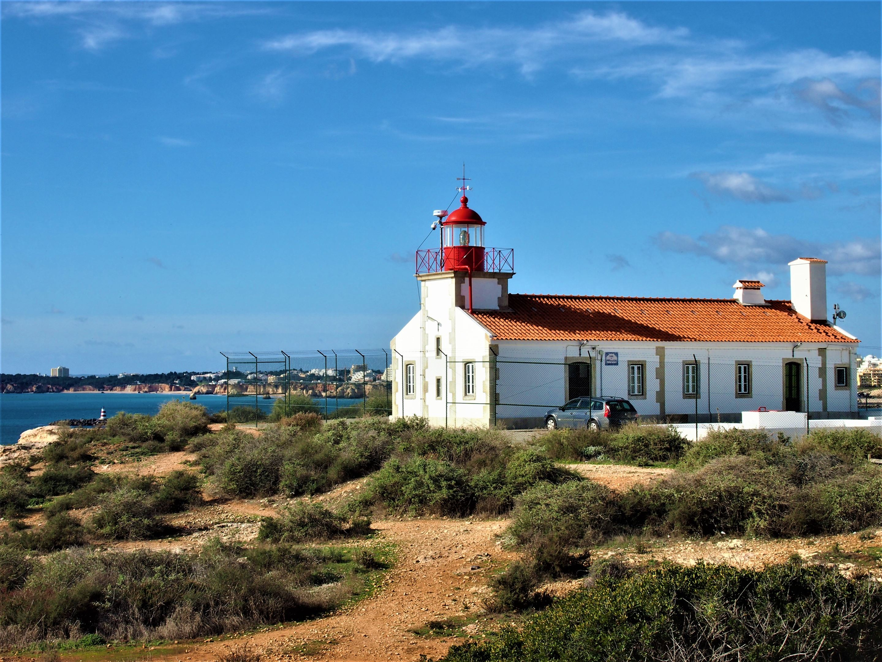 Ponta do Altar lighthouse at Portimao, located just before the entrance to the Arade River
