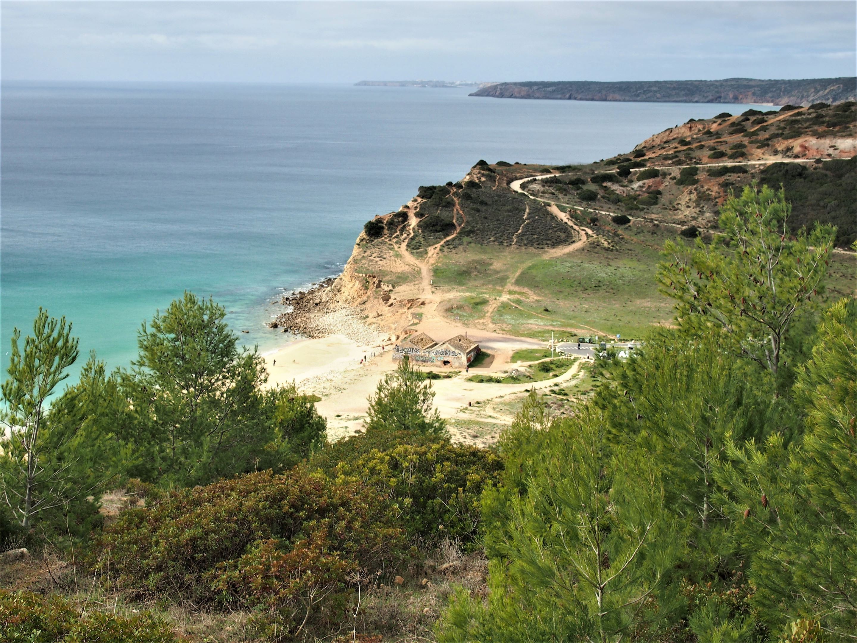 Looking down onto Praia Boco do Rio, in between the villages of Burgau and Salema in the Vila do Bispo region of the Algarve