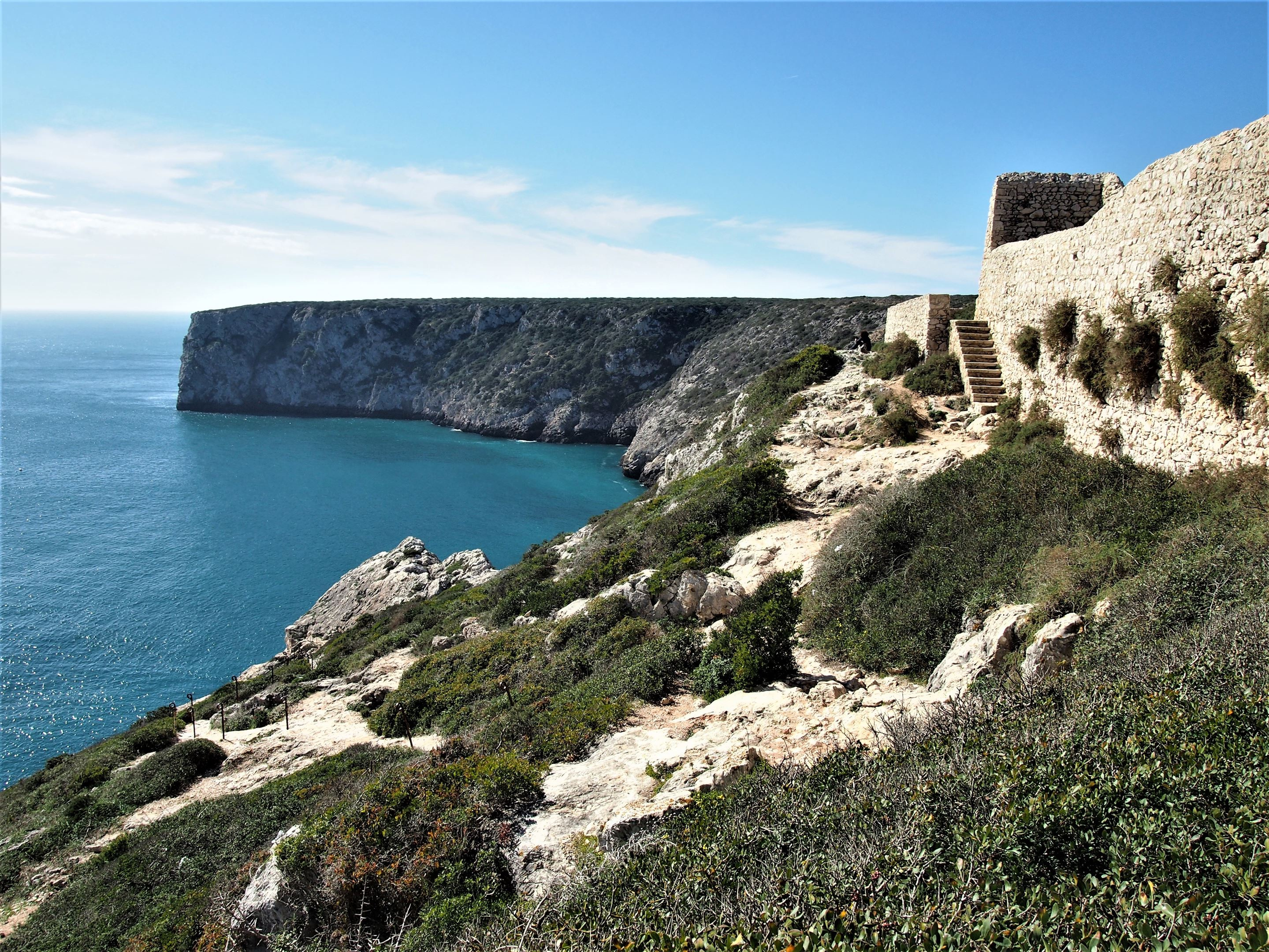 View of the cliffs and walls of the fort at Fortaleza de Beliche, Sagres
