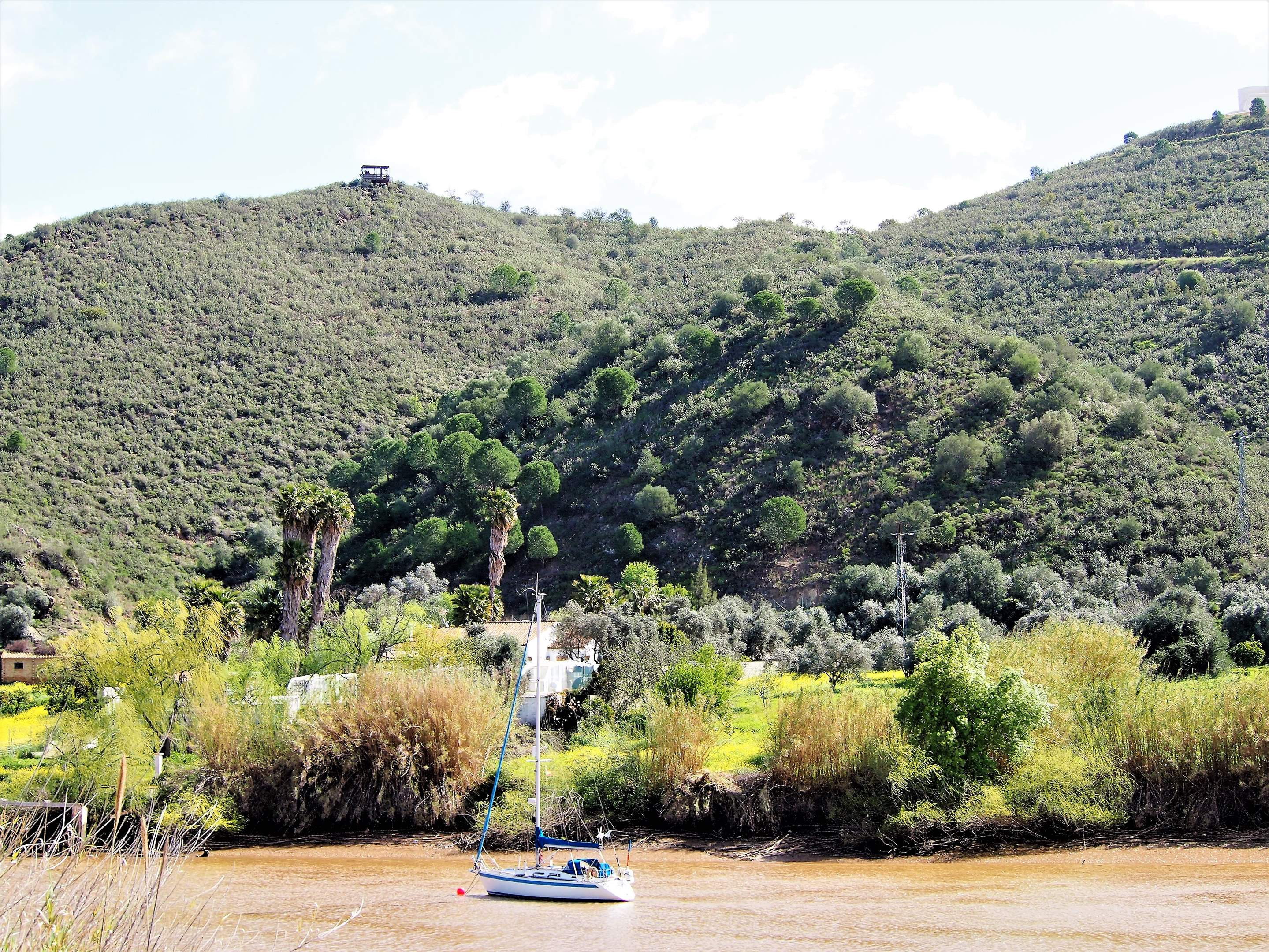 Look closely - coming down the zip line across the Guadiana River which provides the border between Spain and Portugal.