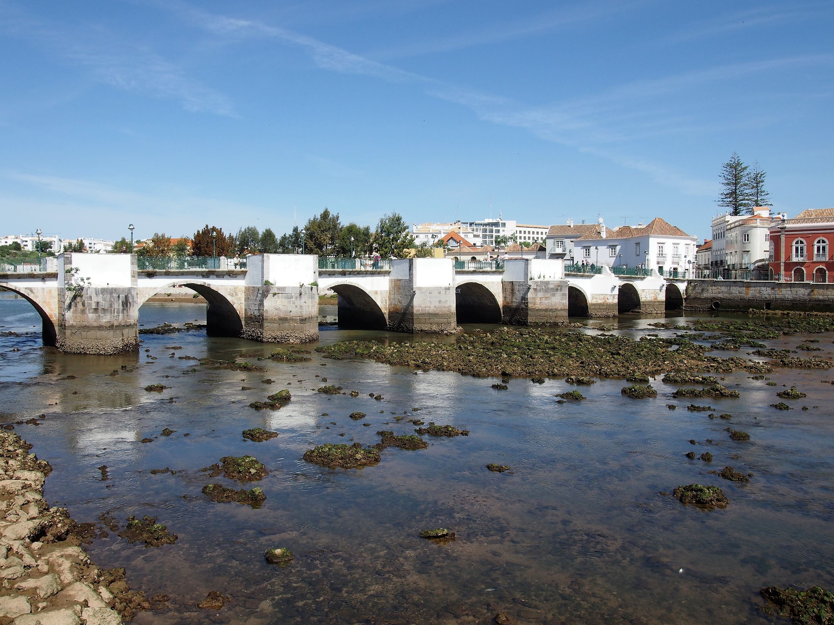 The Roman Bridge which crosses the Gilão River in Tavira. Although it's called Roman, it's not Roman, probably constructed in the 17th Century after the previous bridge collapsed, also not Roman.