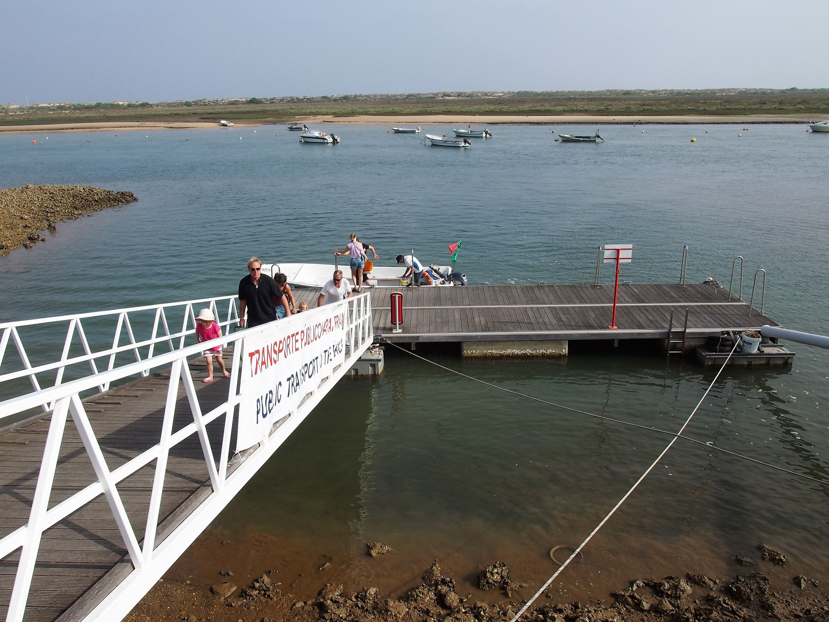 One of a few jetties at Cabanas de Tavira, to take a boat to Ilha de Cabanas (Cabanas Island). This boat seemed like fun and was! If you have children there is a more sedate ferry available.