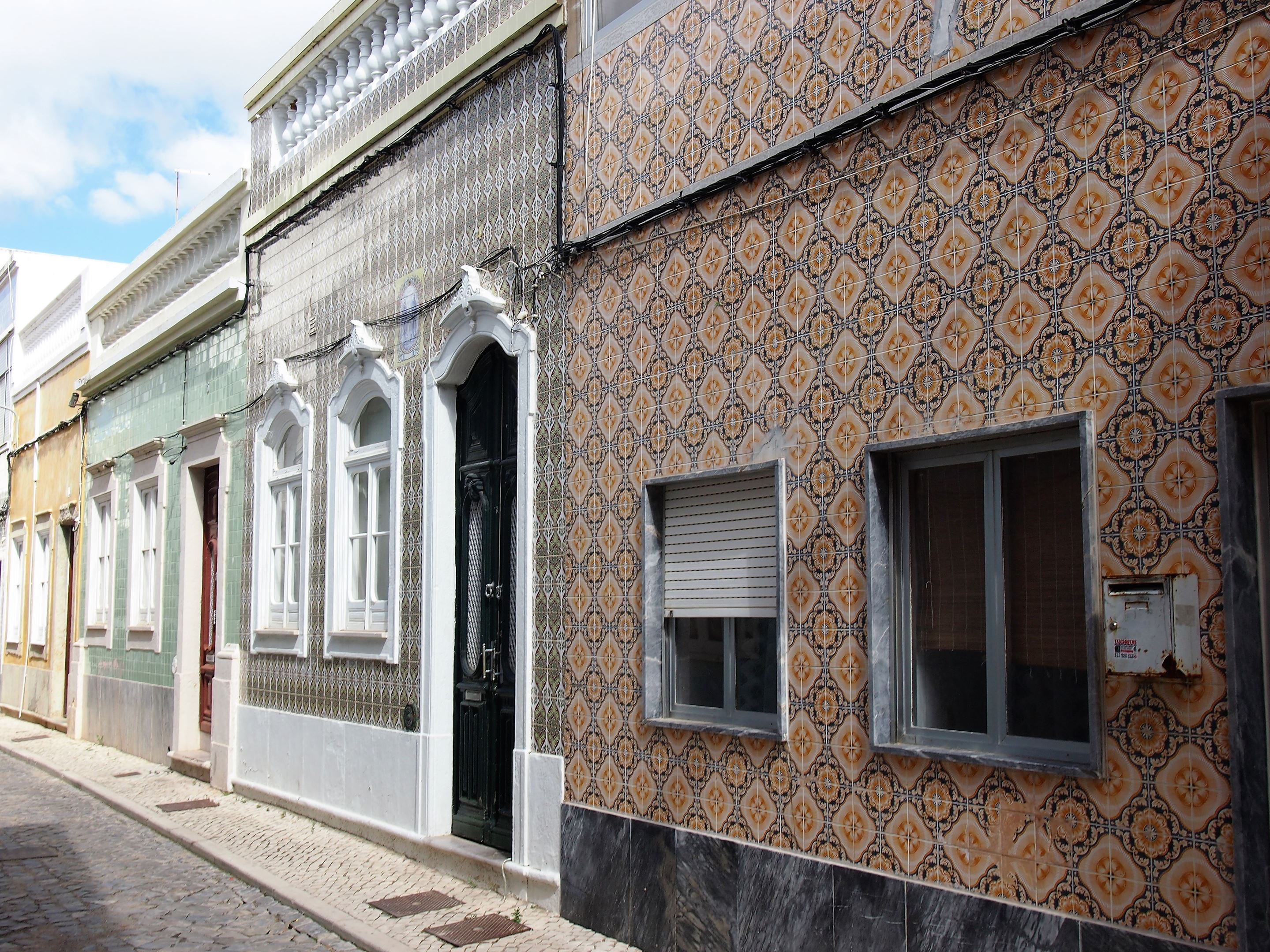 Typical Algarvean houses covered in tiles in Olhão, Algarve