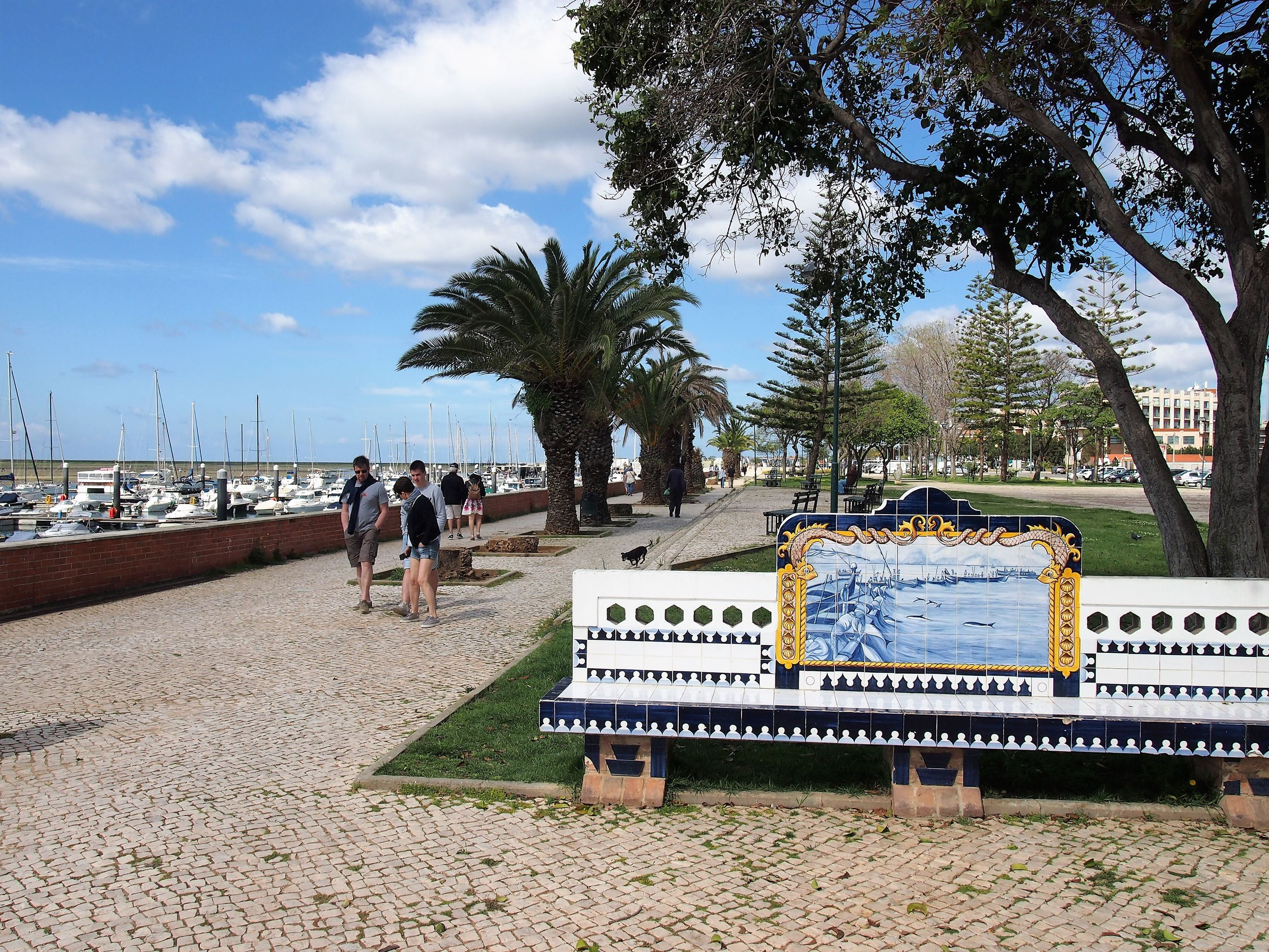 The promenade along the waterfront at Olhão, Algarve