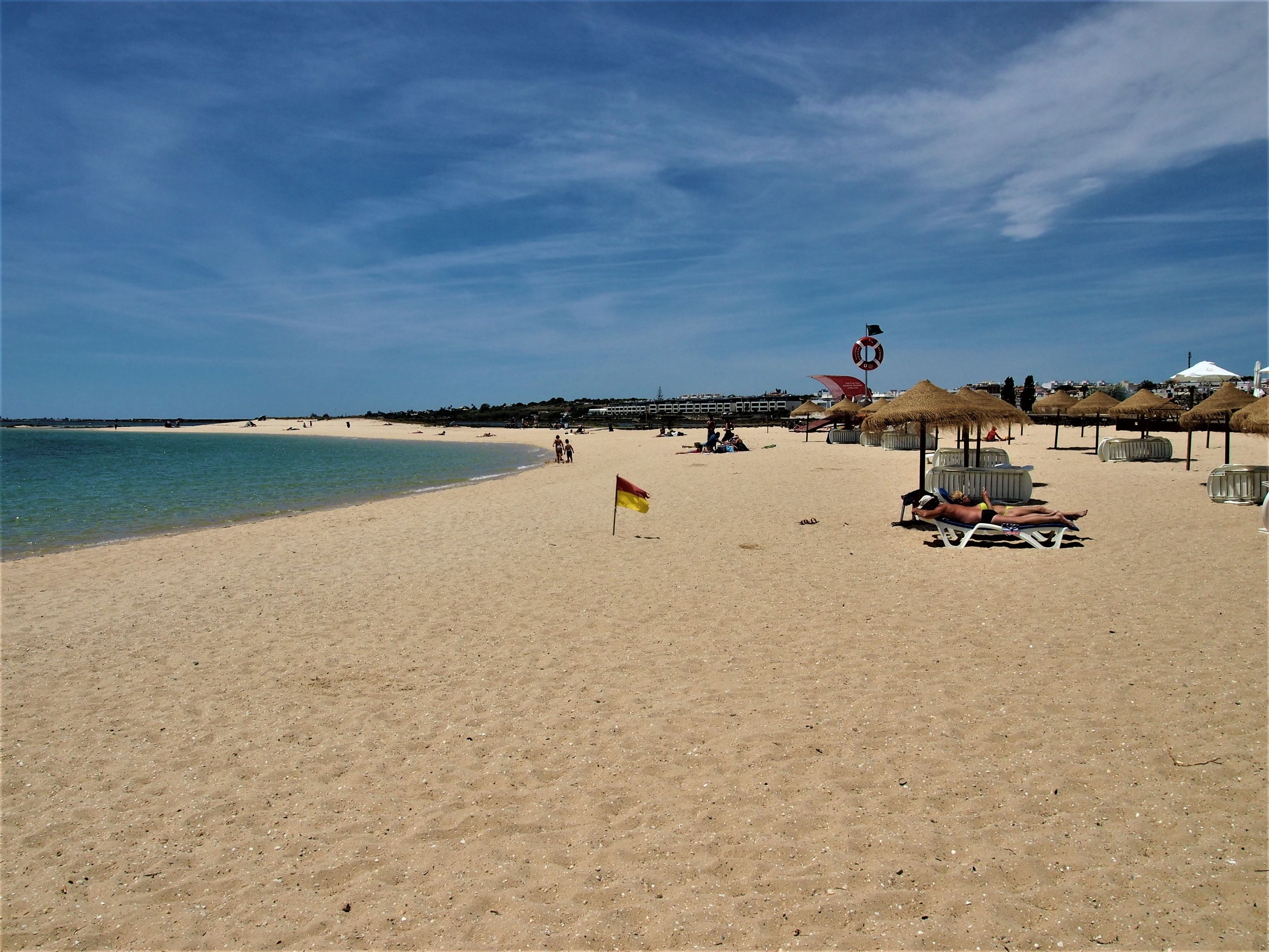 Praia da Fuseta-Ria, the main beach at Fuseta where the water is very calm, protected by the islands of the Ria Formosa