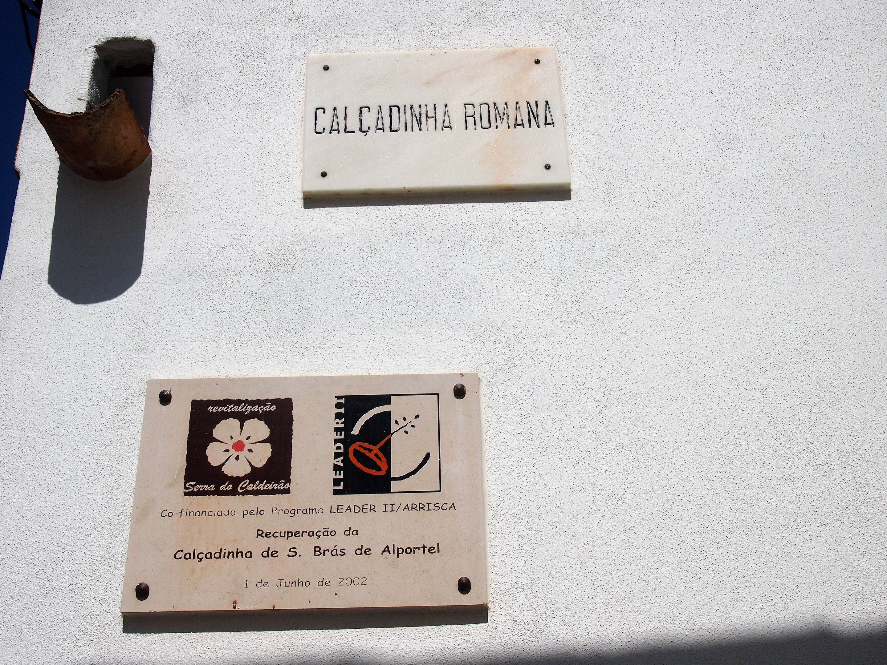 The Calçadinha Romana, a signpost showing the Roman road close to the main church, São Brás de Alportel