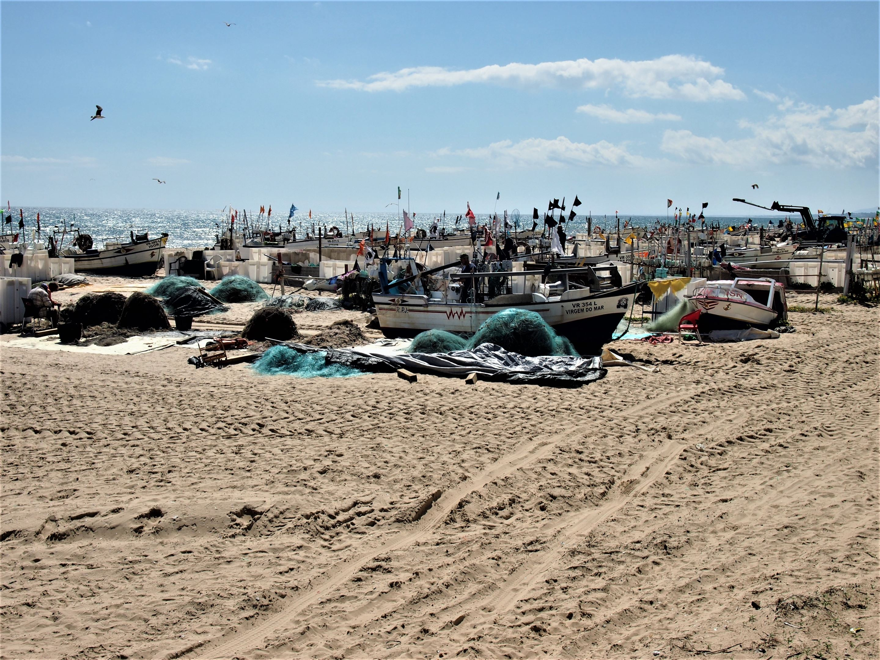 The fishing boats at Praia de Monte Gordo