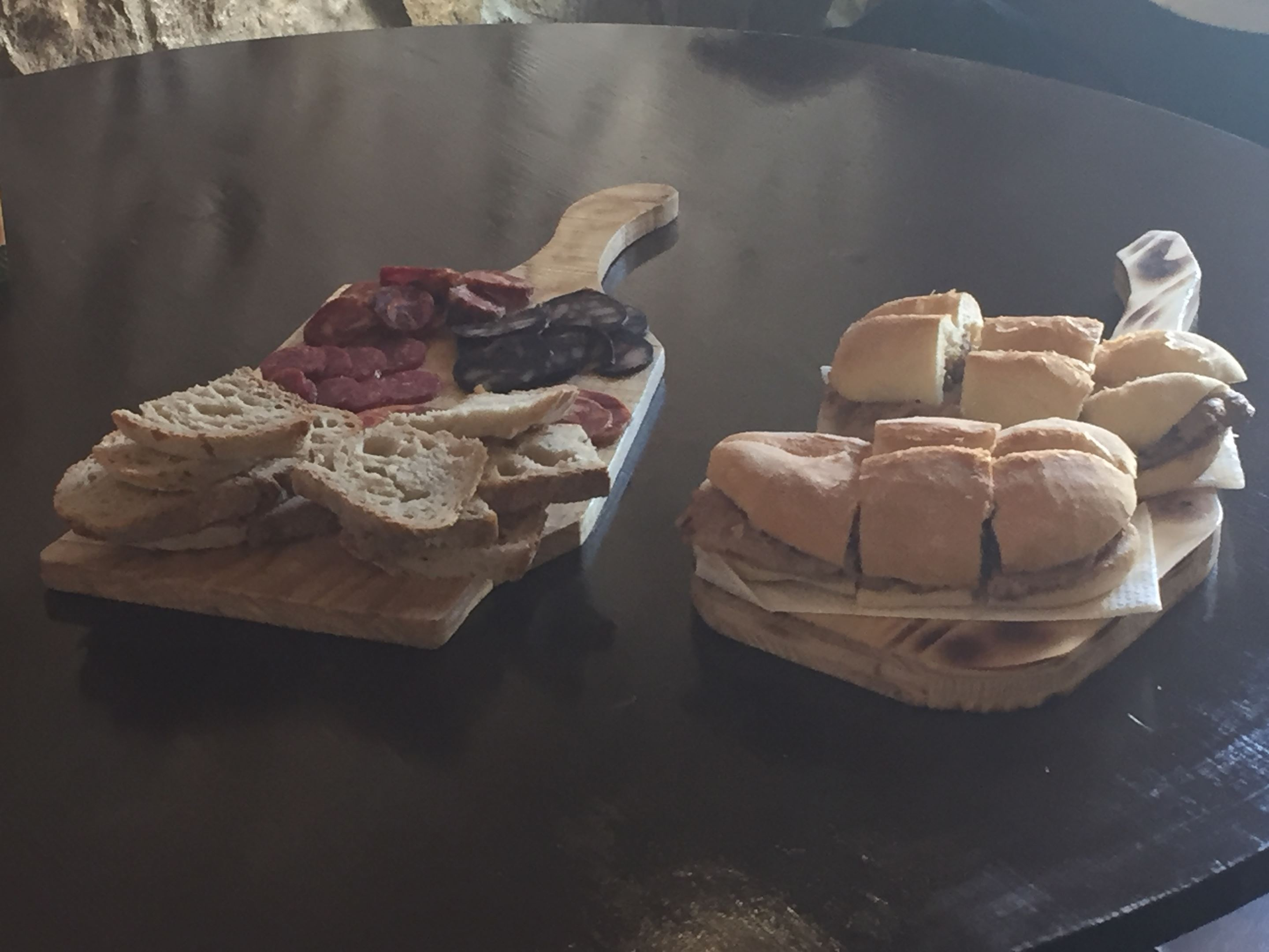 Assorted breads with a selection of meat