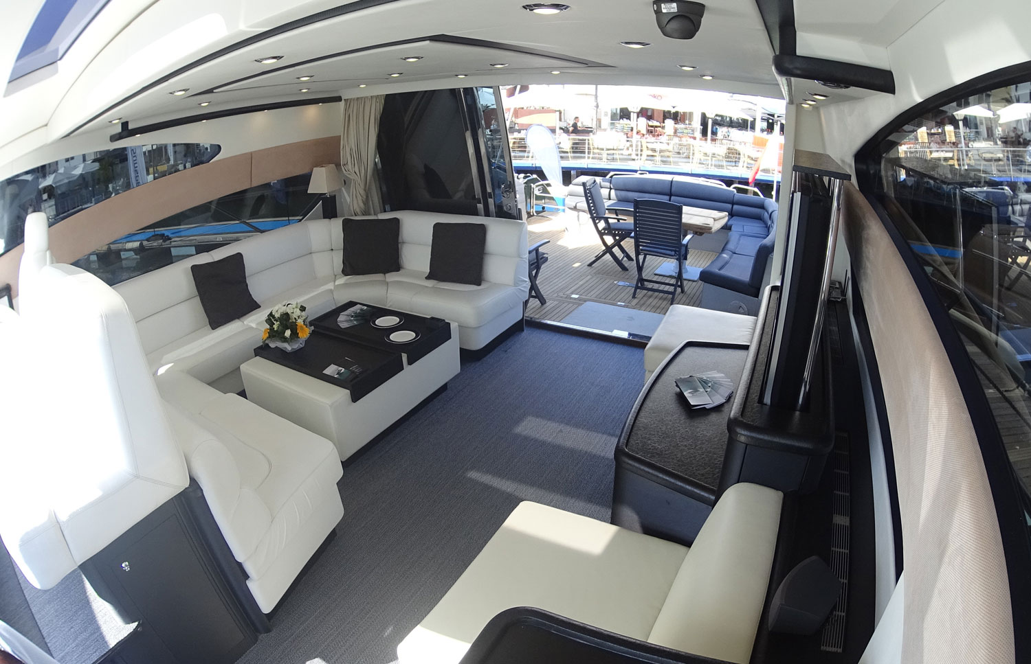 Sunseeker Predator 72 Lounge Area and Outside Space