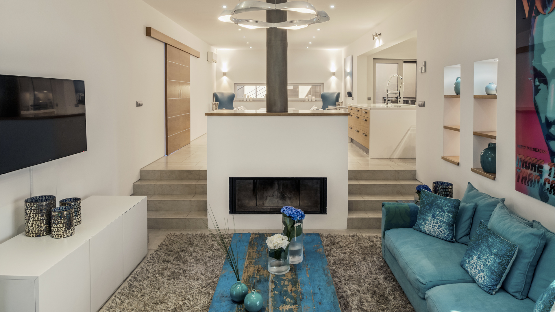 Villa Mar Azul - living room and kitchen