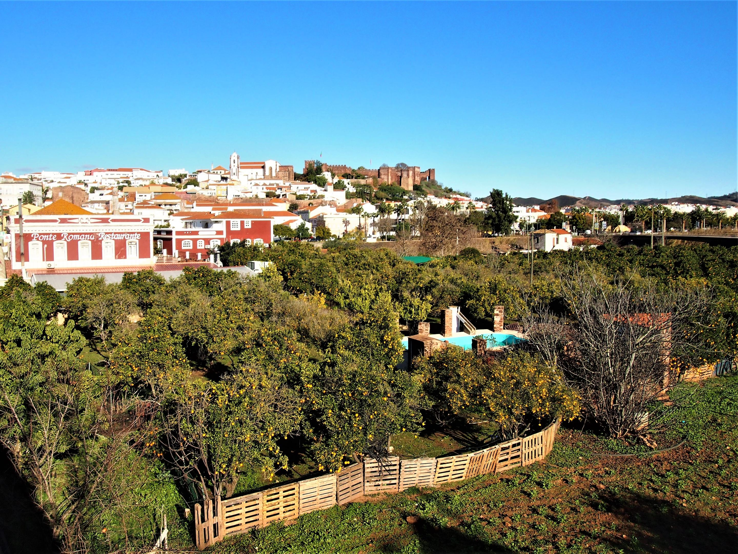 The city of Silves with the Castle and the Cathedral sitting on top of the hill