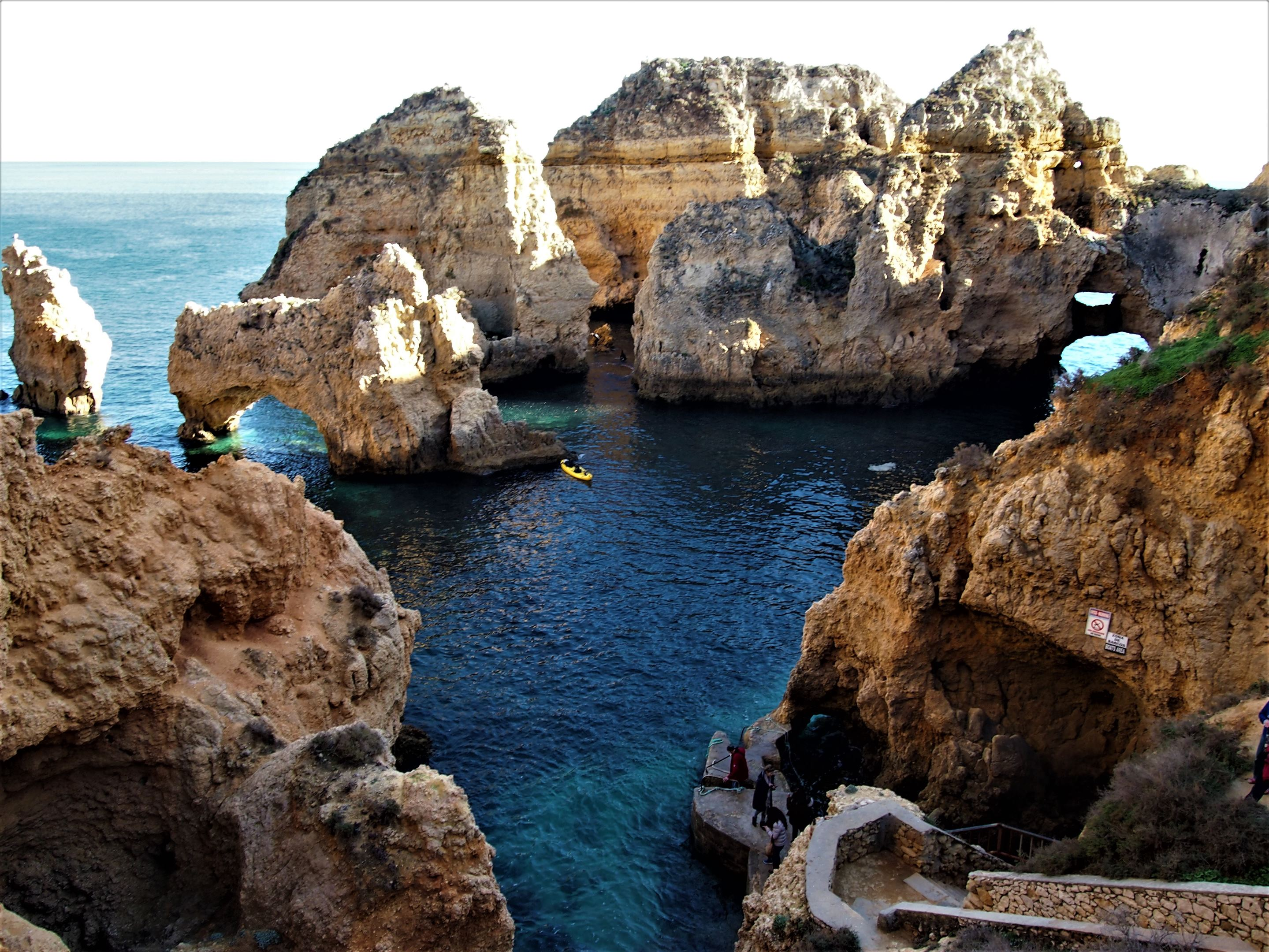 At Ponta da Piedade, Lagos - having walked down the steps. A kayak tour is a great way to see the caves and beaches up close, some impossible to get to by car