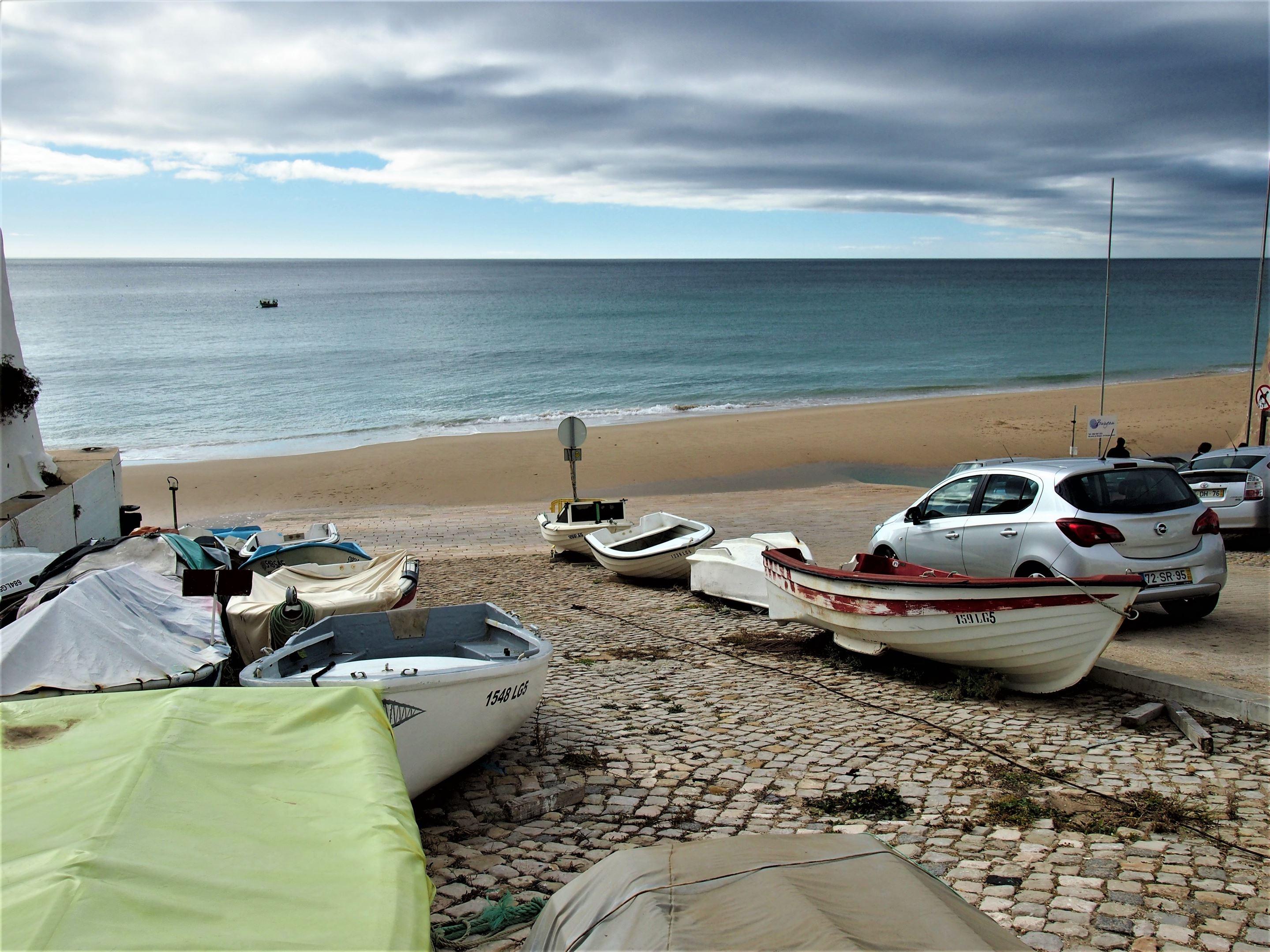 Small fishing boats at Praia de Burgau, Algarve