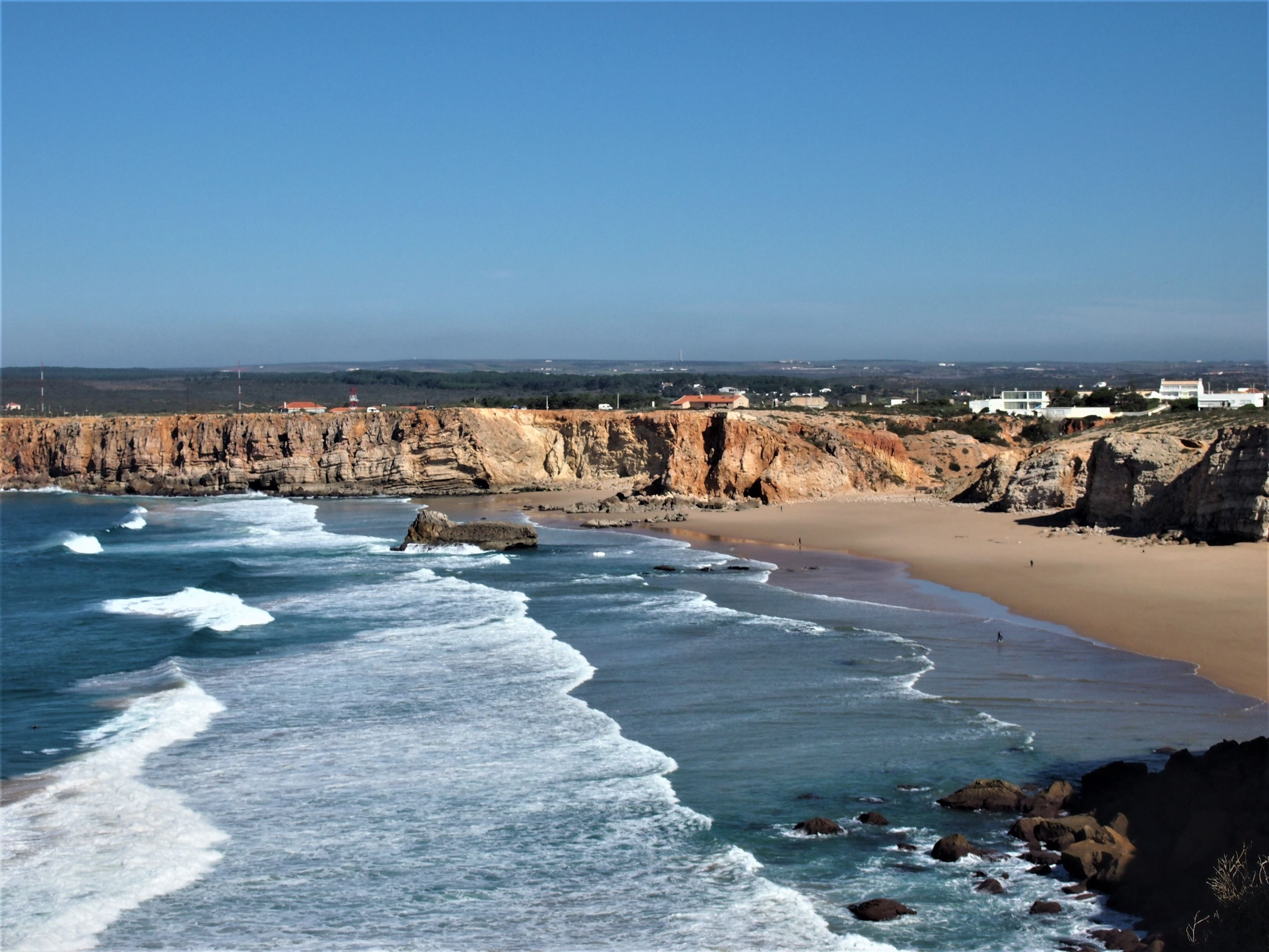 The view from the cliffs at Sagres, with Praia do Tonel (Tonel beach) close by