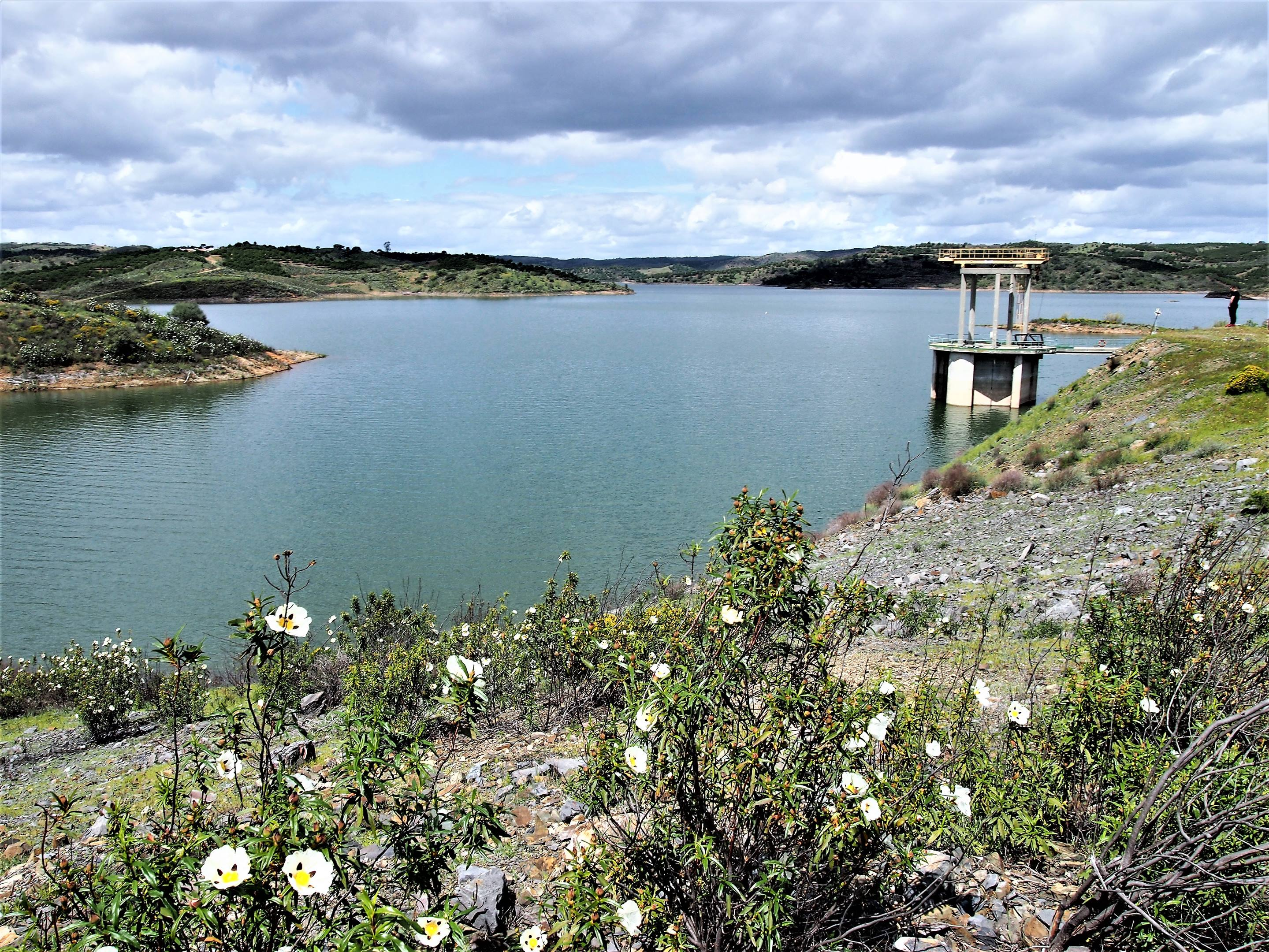 The barragem de Beliche or the Beliche dam, close to the small village of Beliche in Castro Marim