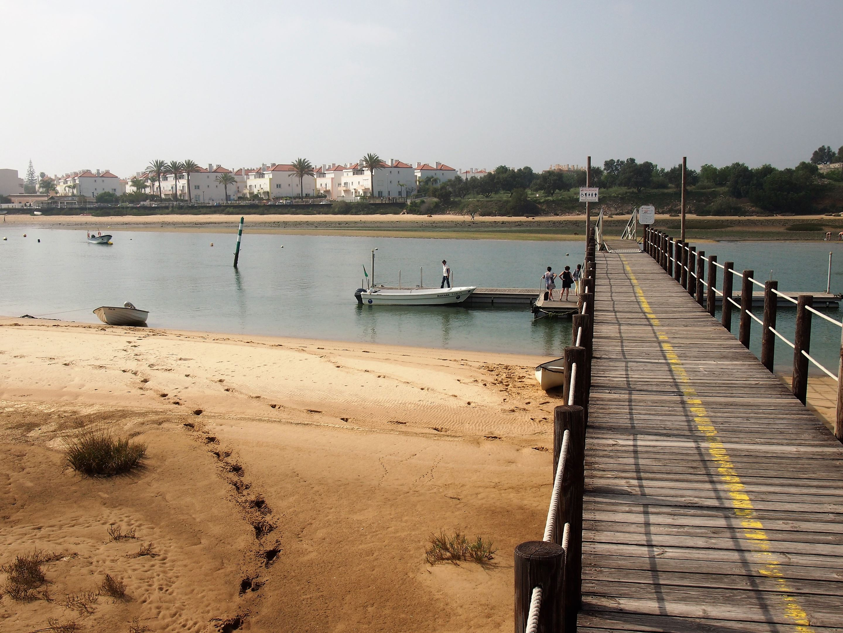 The jetty at Ilha de Cabanas with Cabanas de Tavira in the background