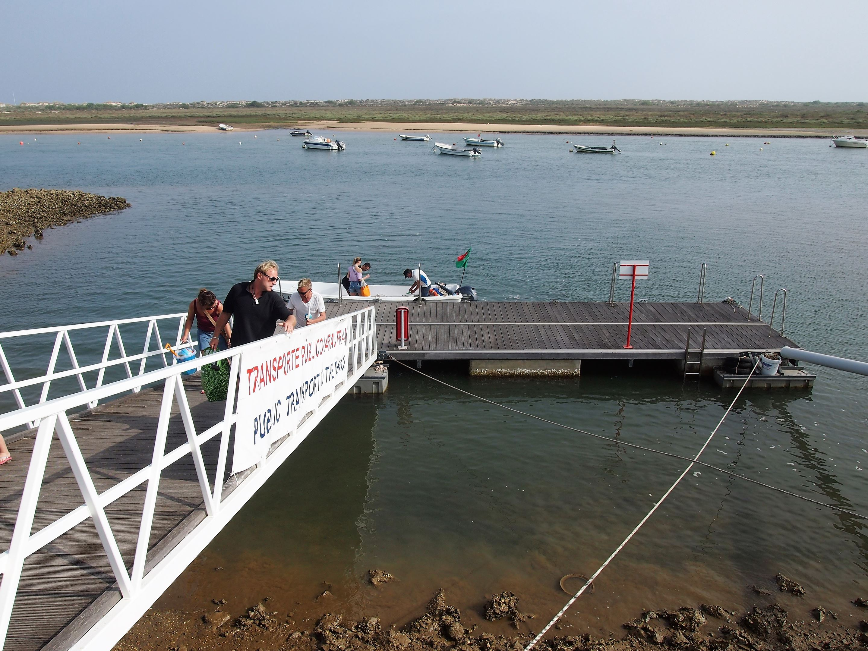 A small ferry at Cabanas de Tavira that will take you to Ilha de Cabanas in just a few minutes.