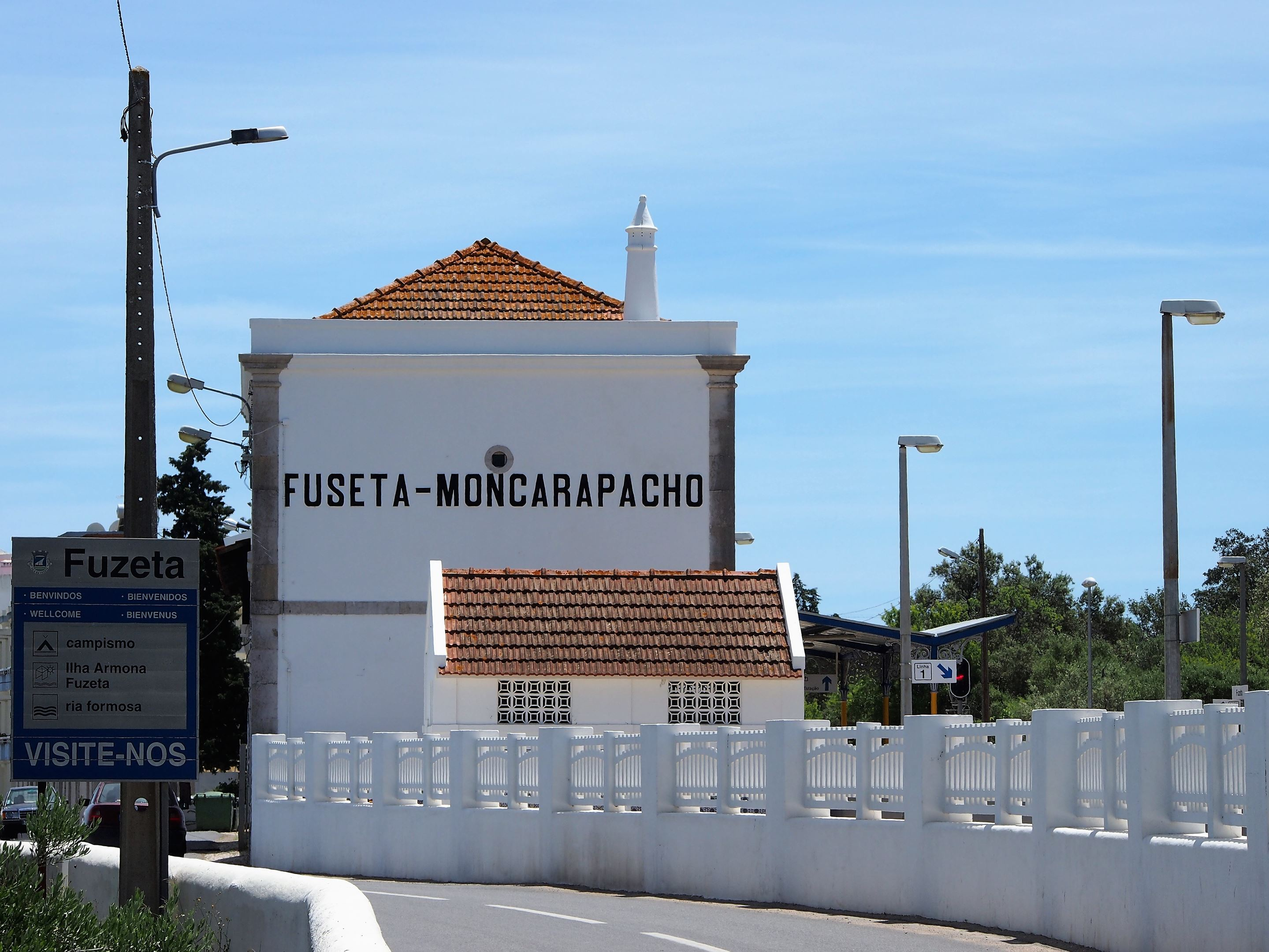 The train station at the entrance to Fuseta