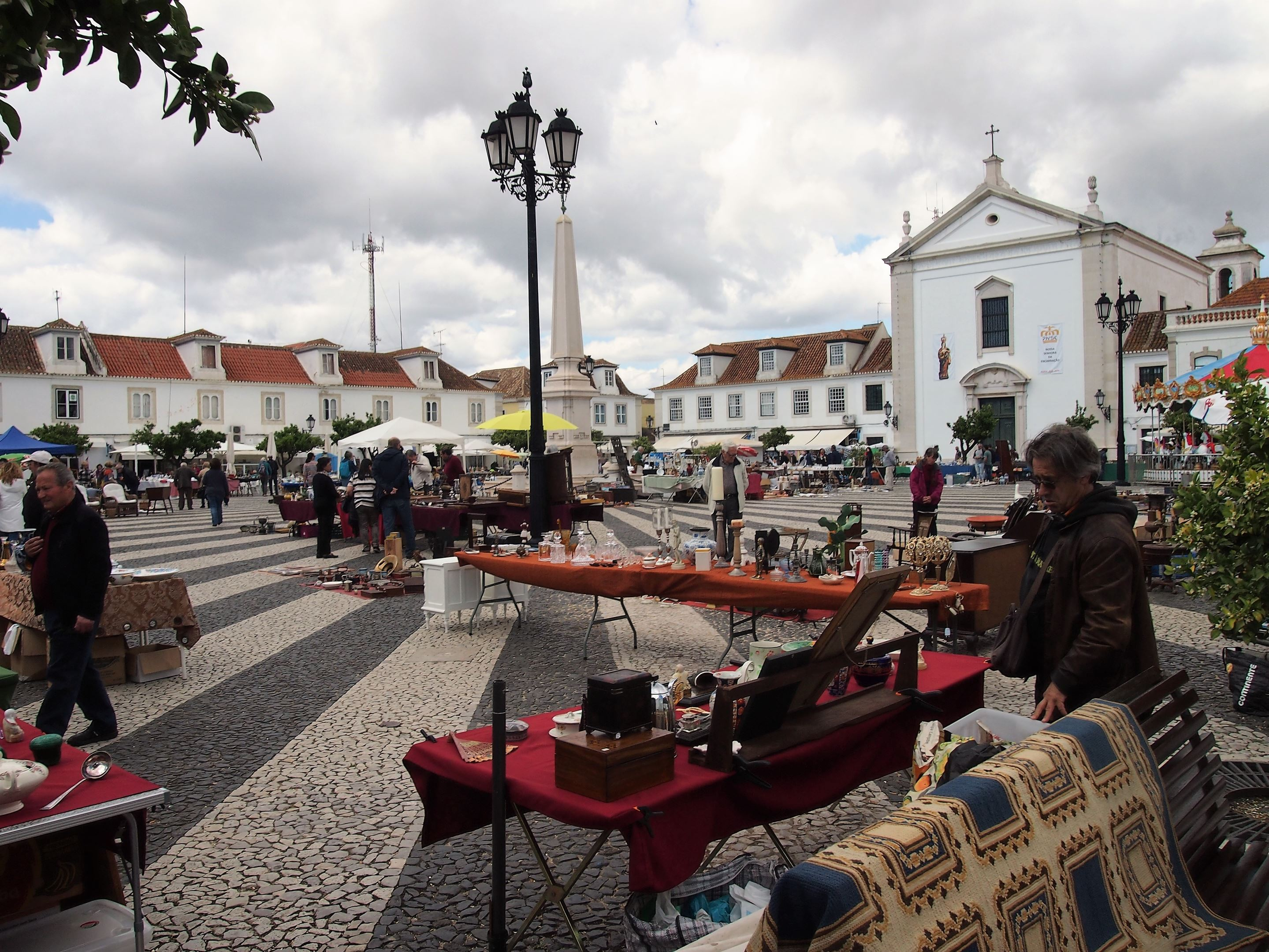 Praça Marquês de Pombal, Vila Real de Santo António. The square is surrounded by orange trees which provide a very strong beautiful citrus smell.
