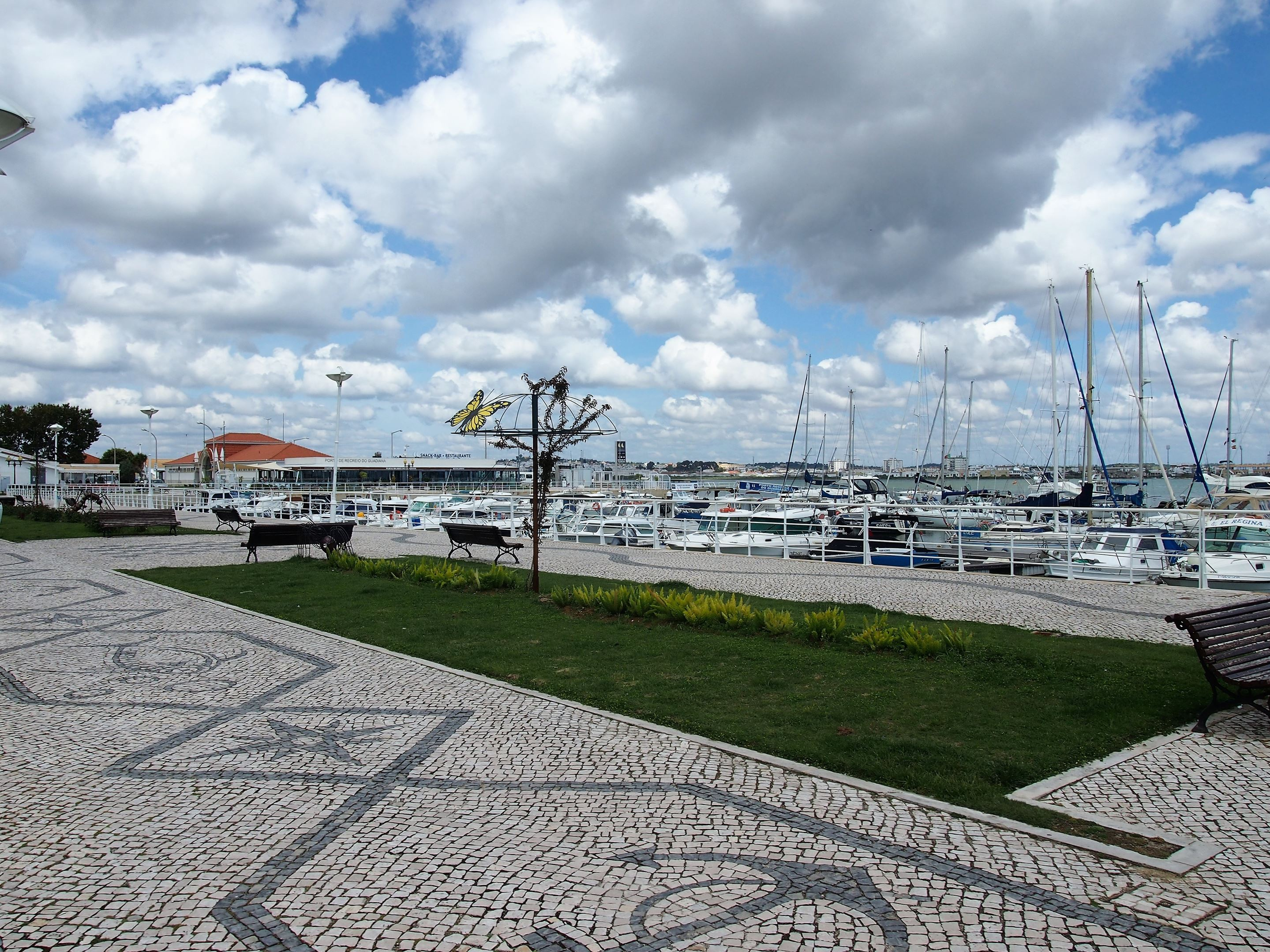 The marina at Vila Real de Santo António. The ferry to Ayamonte departs from the far left side.