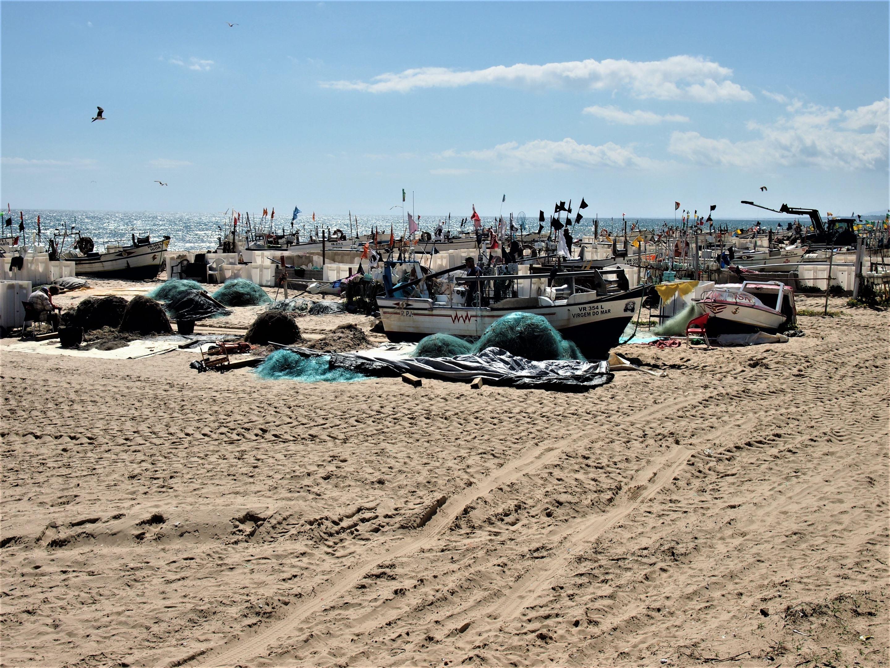 The fishing boats at Praia de Monte Gordo